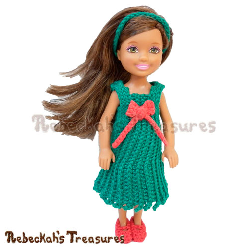 Festive Cheer Holiday Girl - FREE fashion doll crochet pattern by Rebeckah's Treasures via American Crochet | #crochet #chelseadoll #festive