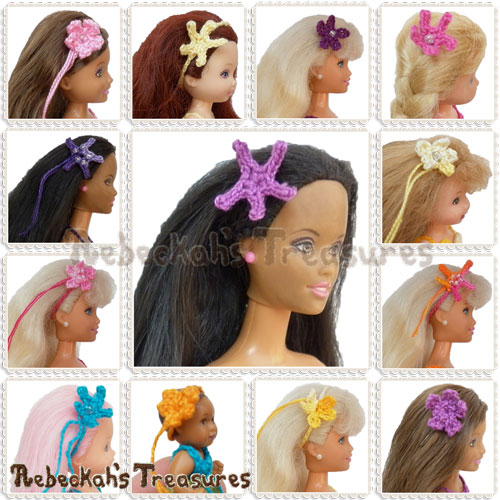 Mermaid Hair Accessories Fashion Doll Crochet Pattern - $3.75 Digital PDF Download by Rebeckah's Treasures! Grab it here: http://goo.gl/bcq04i #barbie #crochet