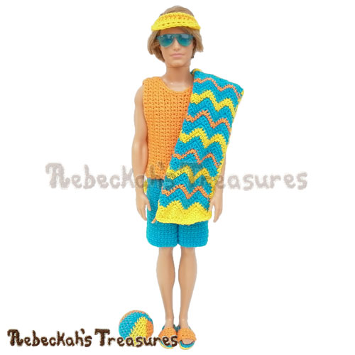 Surfer Dude Fashion Doll Crochet Pattern - $7.75 Digital PDF Download by Rebeckah's Treasures! Grab your copy today here: https://goo.gl/vcWCp1 #ken #surfer #dude #fashiondoll #crochet #pattern
