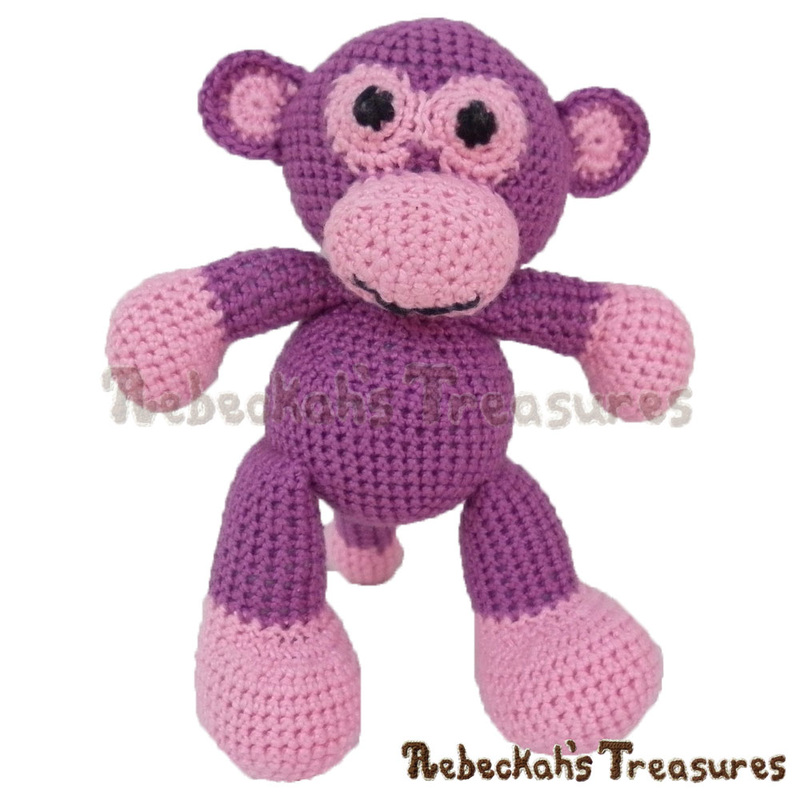 Amigurumi Grape Ape Monkey Crochet Pattern - $5.75 Digital PDF Download by Rebeckah's Treasures! Grab your copy today here: http://goo.gl/Q1gVcj #crochet #pattern #toys #monkey #ape #softy #amigurumi