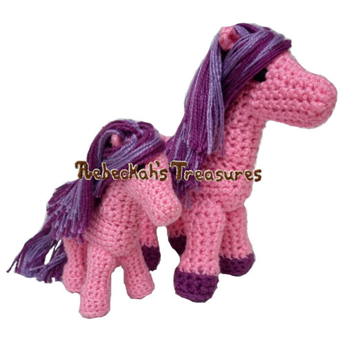 Ponies Crochet Pattern - $4.00 Digital PDF Download by Rebeckah's Treasures! Grab your copy today here: http://goo.gl/V8BFYn #crochet #pattern #pony #amigurumi #toys