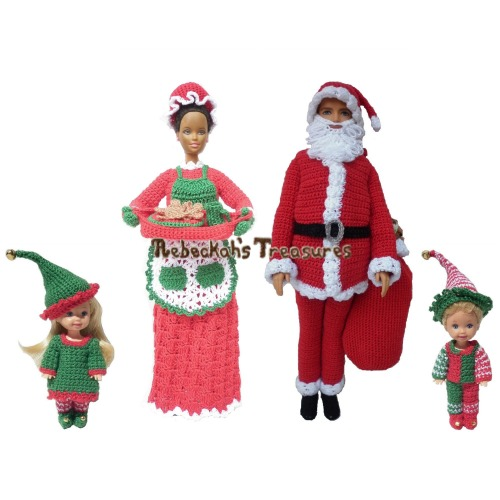 Fashion Doll Christmas Crochet Pattern eBook Bundle - $12.00 Digital PDF Download by Rebeckah's Treasures! Grab your copy today here: http://goo.gl/fgVifZ #crochet #pattern #barbie #toys #christmas #santa #elves #mrsclaus