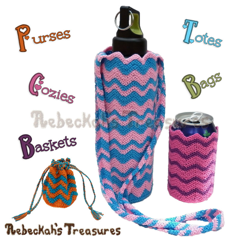 Chevron Accessories Crochet Pattern Collection - $3.75 Digital PDF Download by Rebeckah's Treasures! Grab it here: http://goo.gl/V7VQnA #chevron #crochet #accessory