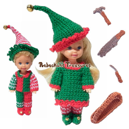 Elves Child Fashion Doll Crochet Pattern - $5.75 Digital PDF Download by Rebeckah's Treasures! Grab your copy today here: http://goo.gl/3S4bc1 #crochet #pattern #barbie #toys #kelly #tommy #elves #christmas