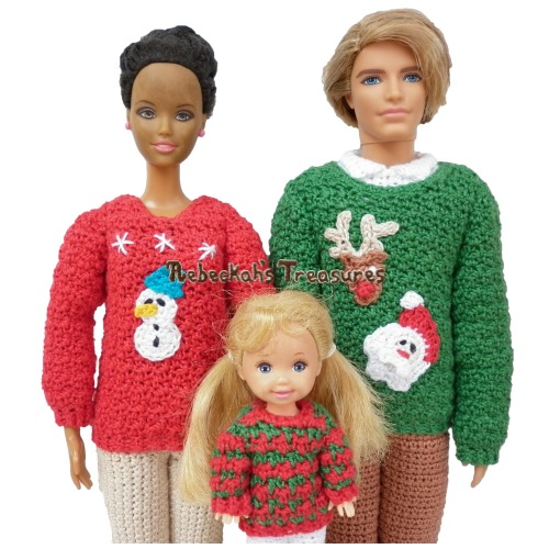 Fashion Doll Family Christmas Sweaters Crochet Pattern eBook Bundle - $6.00 Digital PDF Download by Rebeckah's Treasures! Grab your copy today here: http://goo.gl/MvbGvF #crochet #pattern #barbie #toys #kelly #christmas #ken
