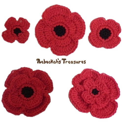 Remembrance Poppies Crochet Pattern - FREE Digital PDF Download by Rebeckah's Treasures! Grab your copy today here: http://goo.gl/8R4n2W #crochet #pattern #poppies #remembrance