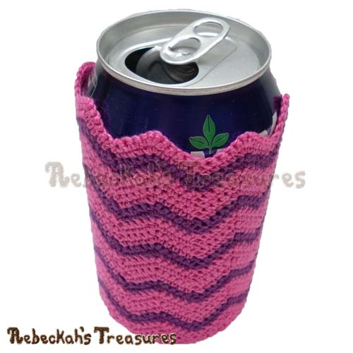 Chevron Soda Can Cozy Crochet Pattern - $1.75 Digital PDF Download5 by Rebeckah's Treasures! Grab it here: http://goo.gl/yzZYAB #chevron #crochet #can #cozy