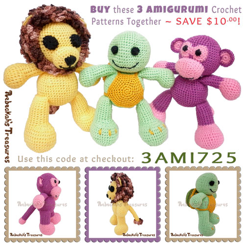 Purchase the Timothy Turtle, Grape Ape Monkey & Abayomi Lion crochet patterns together for only $7.25 and SAVE $10.00! | Visit @beckastreasures to learn more: http://www.rebeckahstreasures.com/special-offers.html#bundles | #crochet #amigurumi #lion #turtle #monkey