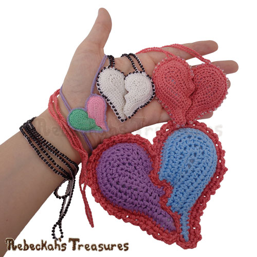 Broken Hearts Crochet Pattern - $5.75 Digital PDF Download by Rebeckah's Treasures! Grab your copy today here:  #crochet #pattern #heart #valentine