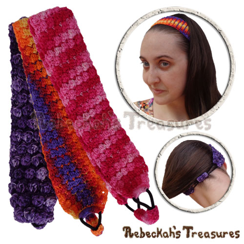Pebble Bobbles Headband Crochet Pattern - $3.75 Digital PDF Download by Rebeckah's Treasures! Grab your copy today here: https://goo.gl/CUHxeP #crochet #pattern #headband #pebble #bobble