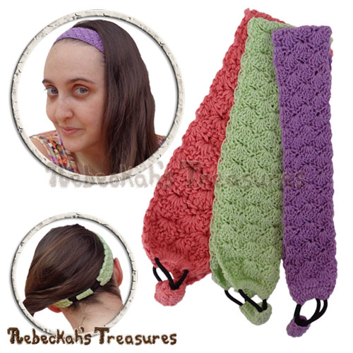 Adjustable Shells Headband Crochet Pattern - $3.75 Digital PDF Download by Rebeckah's Treasures! Grab your copy today here: https://goo.gl/BwLqQB #crochet #pattern #shells #headband