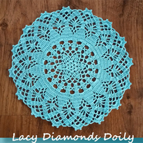 Free Lacy Diamonds Doily Crochet Pattern by Crochet Memories - a guest contribution for Rebeckah's Treasures! See it here: https://goo.gl/Sd4xMb #crochet #pattern #doily