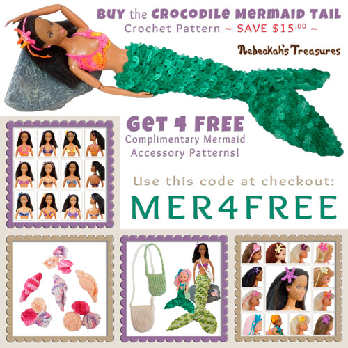 Purchase the *Crocodile Mermaid Tail* crochet pattern for fashion dolls and grab the 4 complimentary Mermaid Accessory crochet patterns free of charge! Visit @beckastreasures to learn more: http://www.rebeckahstreasures.com/special-offers.html#bundles | #crochet #barbie #mermaid