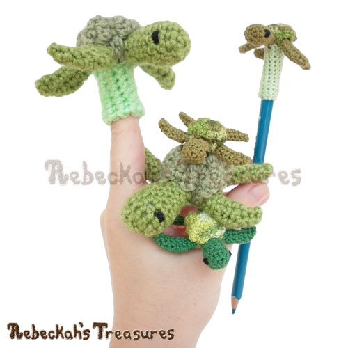 Mini Turtle Friends Crochet Pattern PDF $3.75 by Rebeckah's Treasures! Coming Soon - Learn more here: http://www.rebeckahstreasures.com/blog/dreaming-of-pencil-toppers #crochet #turtles #mini #fingerpuppet #amigurumi