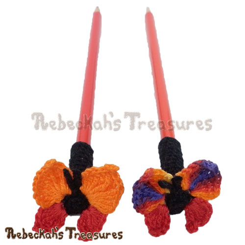 Free Cute Butterfly Pencil Topper / Finger Puppet Crochet Pattern by Rebeckah's Treasures! See it here: http://goo.gl/4wZ0T5 #butterfly #crochet #penciltopper #fingerpuppet