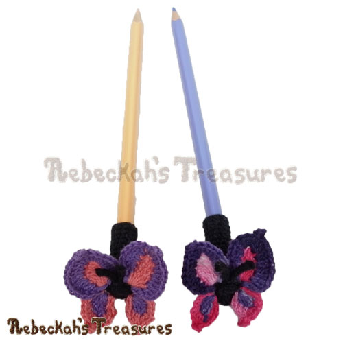 Free Elegant Butterfly Pencil Topper / Finger Puppet Crochet Pattern by Rebeckah's Treasures! See it here: http://goo.gl/zClvgl #butterfly #crochet #penciltopper #fingerpuppet