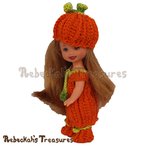 Pumpkin Cutie Child Fashion Doll Crochet Pattern - $3.75 Digital PDF Download by Rebeckah's Treasures! Grab your copy today here: https://goo.gl/BUiQmM  #crochet #pattern #pumpkin #doll #barbie #kelly #fashiondoll