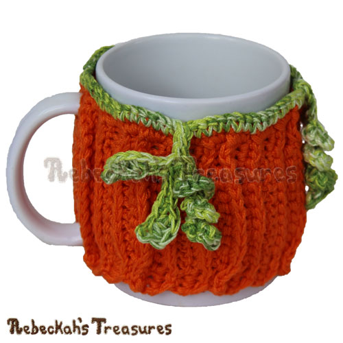 Free Thick Harvest Pumpkin Mug Cozy Crochet Pattern by Rebeckah's Treasures! See it here: https://goo.gl/Ar17QS #crochet #pattern #pumpkin #mugcozy