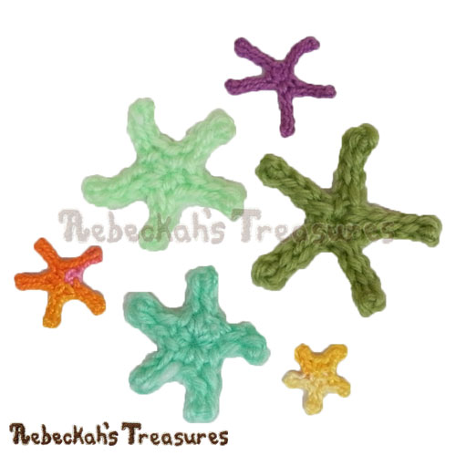 Free Starfish Motifs Crochet Pattern by Rebeckah's Treasures! See it here: http://goo.gl/2HDUFE #motif #crochet #starfish