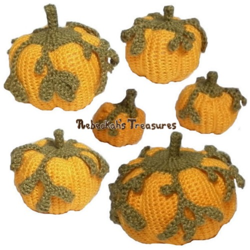 Pumpkins Galore Crochet Pattern - $5.00 Digital PDF Download by Rebeckah's Treasures! Grab your copy today here: http://goo.gl/wN4FMe #crochet #pattern #pumpkin #amigurumi #toys #halloween #thanksgiving
