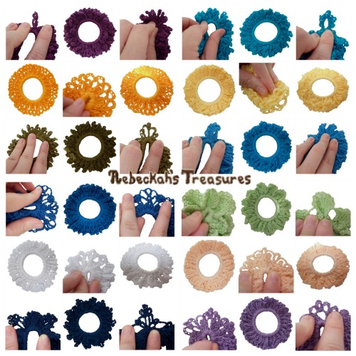 12 Original Crochet Scrunchies Vol. 1 Pattern - $3.00 Digital PDF Download by Rebeckah's Treasures! Grab your copy today here: http://goo.gl/zgNc0A #crochet #pattern #accessory #scrunchy