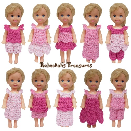 Pretty in Pink Child Fashion Doll Crochet Pattern - $1.50 Digital PDF Download by Rebeckah's Treasures! Try if for FREE on the Blog or Grab your copy today here: http://goo.gl/KMFhEV #crochet #pattern #barbie #kelly #toys