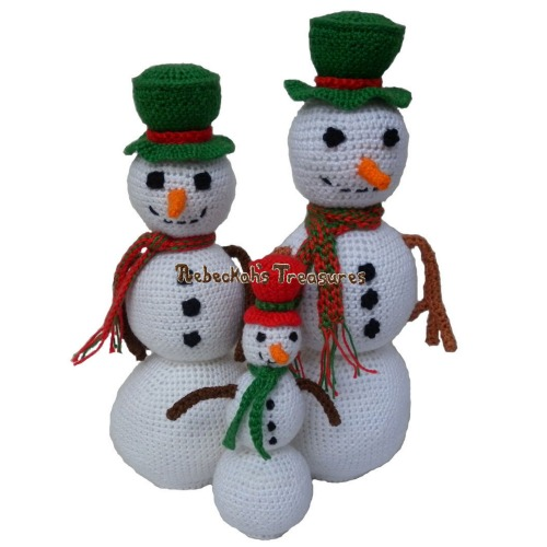Snowmen Crochet Pattern - $4.00 Digital PDF Download by Rebeckah's Treasures! Grab your copy today here: http://goo.gl/3aIpjC #crochet #pattern #snowmen #amigurumi #christmas #toys