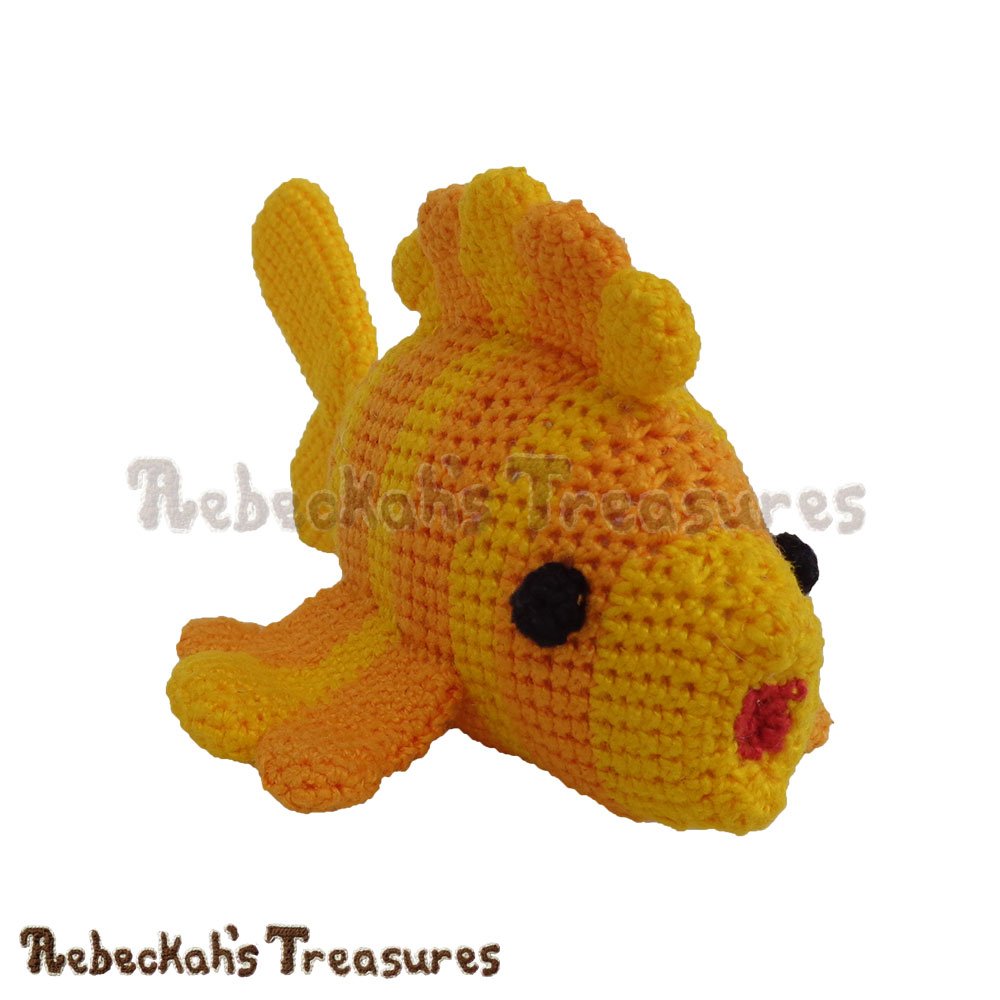 Goldfishy Amigurumi Crochet Pattern - $5.75 Digital PDF Download by Rebeckah's Treasures! Grab your copy today here: https://goo.gl/OUE2SK #goldfishy #fish #amigurumi #goldfish #crochet #pattern