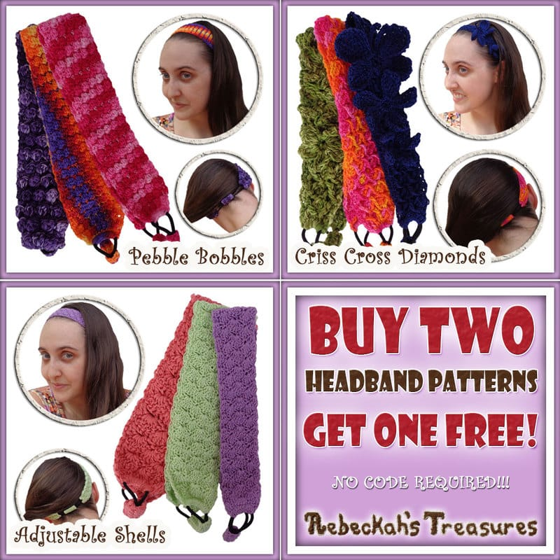 Purchase the Adjustable Shells, Pebble Bobbles & Criss Cross Diamonds headband crochet patterns together for only $7.50 and SAVE $3.75! | Visit @beckastreasures to learn more: http://www.rebeckahstreasures.com/special-offers.html#bundles | #crochet #accessory #headband